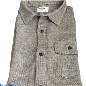 Old Navy Black/White tweed SS button down shirt